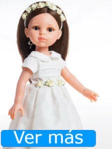 Muñecas de comunión: muñeca de comunión morena con diadema de flores