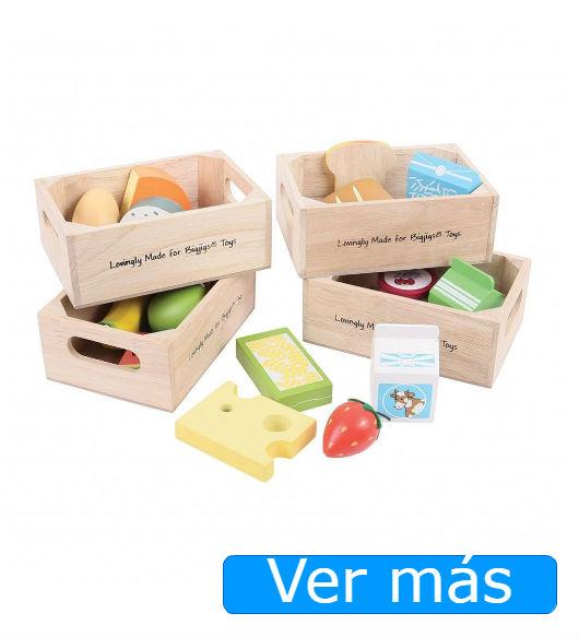 Comida de juguete: alimentos de madera Bigjigs