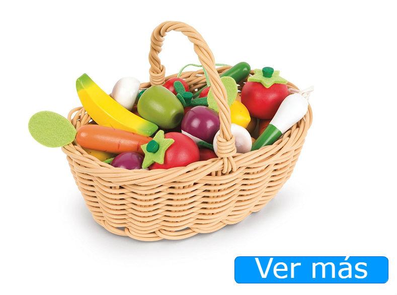 Alimentos de madera: cesta de frutas y verduras Janod
