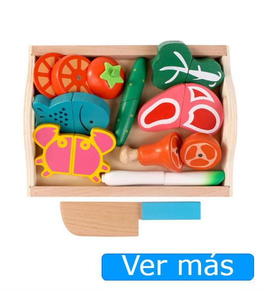 Comida de madera para cortar: alimentos de juguete
