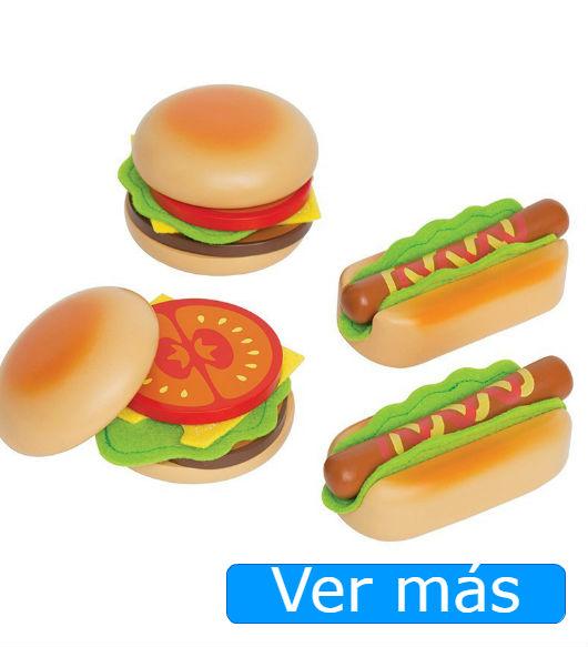Alimentos de madera hamburguesa y perrito