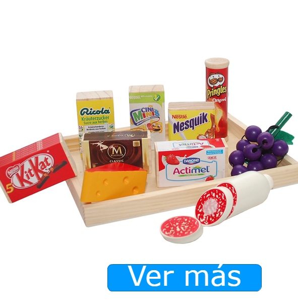 Comida de juguete realista: alimentos de madera de marcas