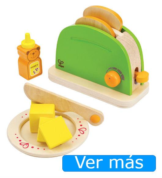 Alimentos de madera: tostadas mantequilla y miel