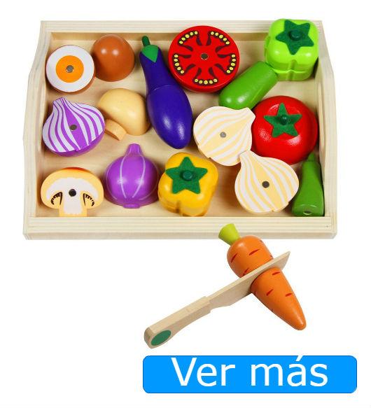 Comida de juguete para cortar: alimentos de madera