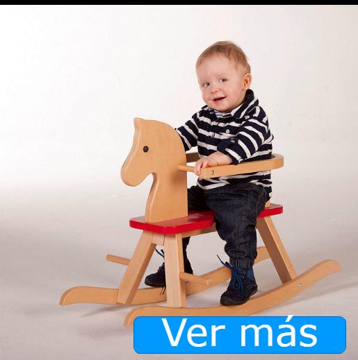 Caballito de madera para bebés con aro de seguridad lacado