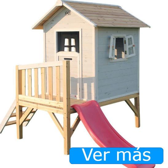 Casas de jardín para niños: casa con tobogán rosa