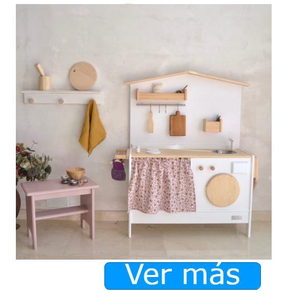 Cocinitas de madera hechas a mano Macarena Bilbao-cocinitas de madera artesanales con lavadora