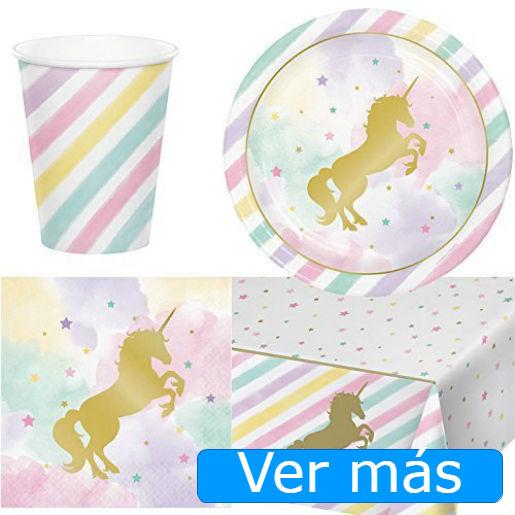 Cosas de unicornios: mantel y vajilla