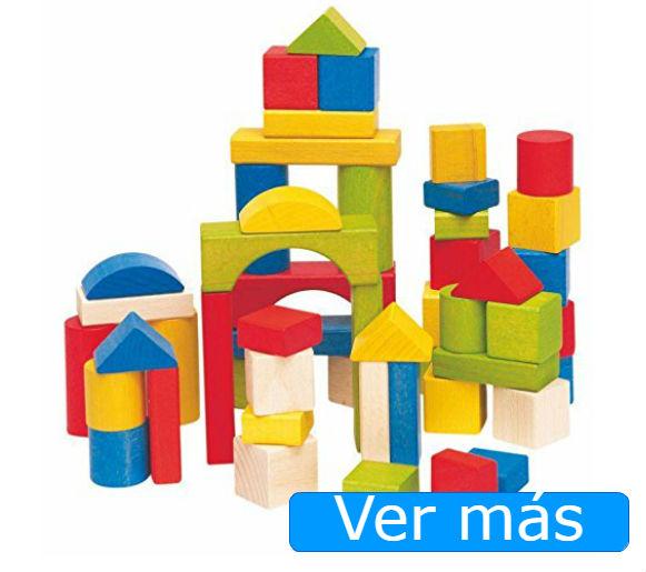Juguetes de madera para bebés: bloques de colores