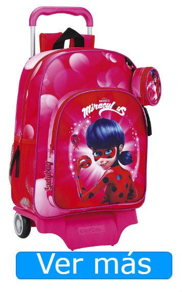 Mochilas Ladybug: mochila rosa con carro extraíble