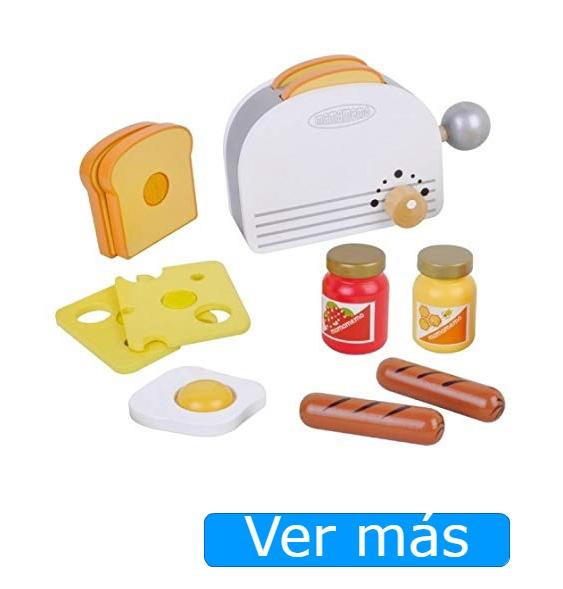 Tostadora de juguete con comida de madera