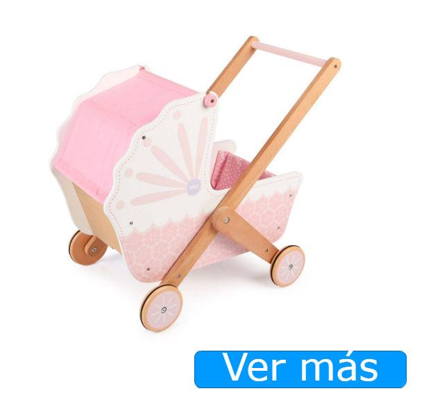 Carrito de muñecas de madera rosa