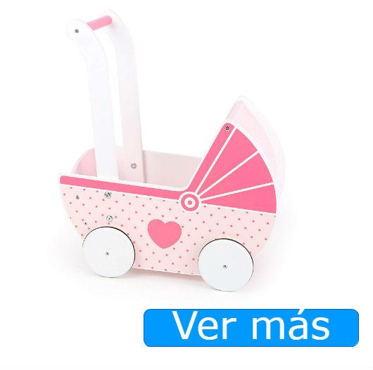 Carritos de muñecas de madera en rosa