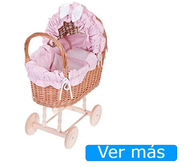 Carritos de muñecas mimbre y tejido rosa