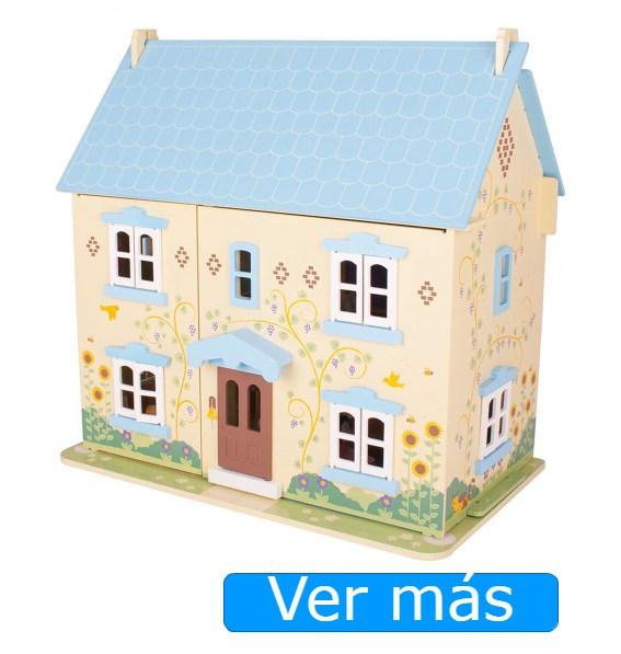 Casa de muñecas de madera con muebles Bigjigs