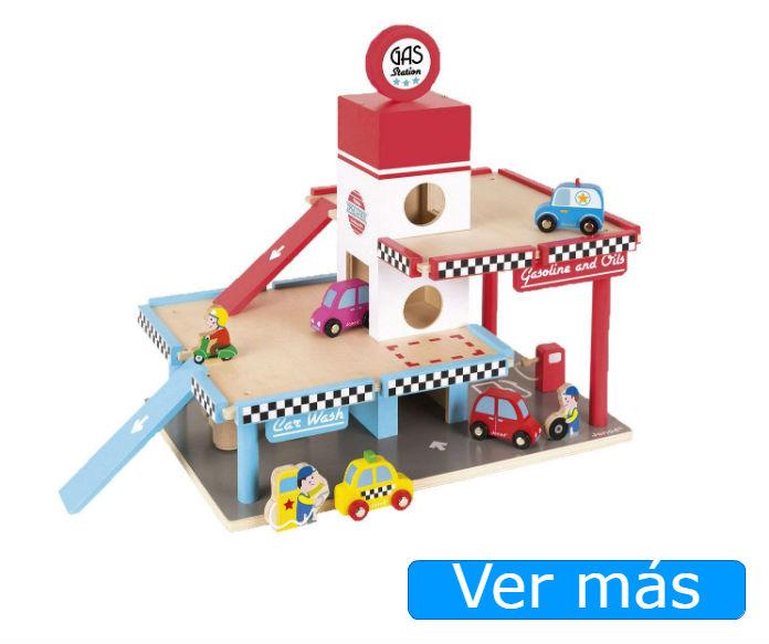 Juguetes de madera para niños: coches y garaje Janod