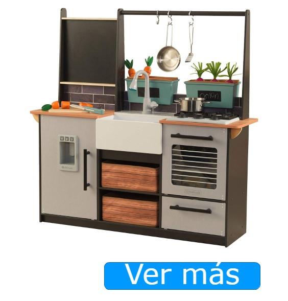 Cocinitas de madera para niños: Cocina moderna con toques rústicos