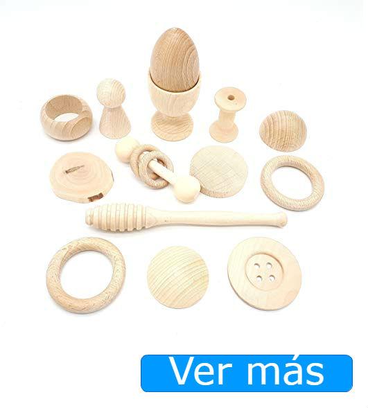 Juguetes de madera para bebés cesta de los tesoros