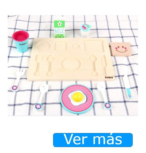 Juguetes de cocina y juego de madera de formas encajables