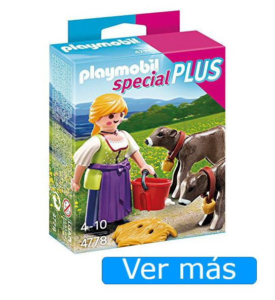 Belén Playmobil: granjera con terneros