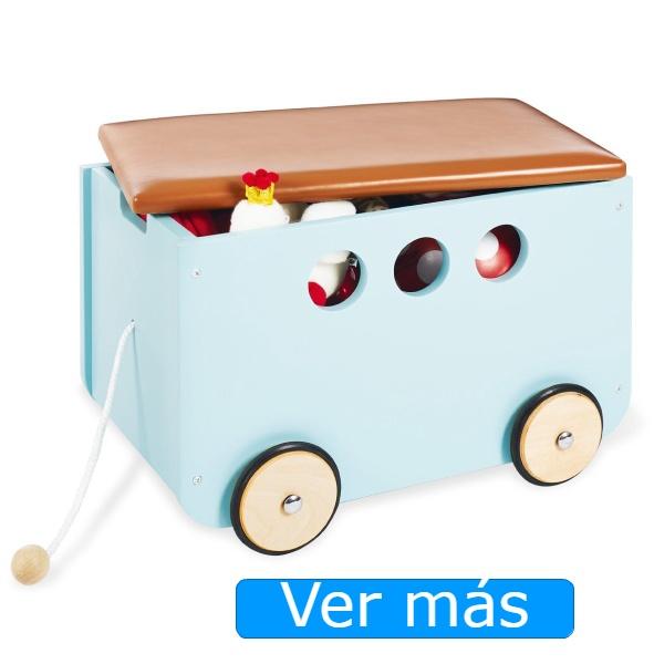 Baúl para juguetes con tapa tipo carretilla