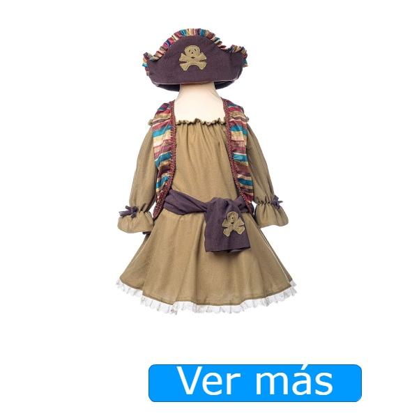 Disfraz de pirata para niña en marrón
