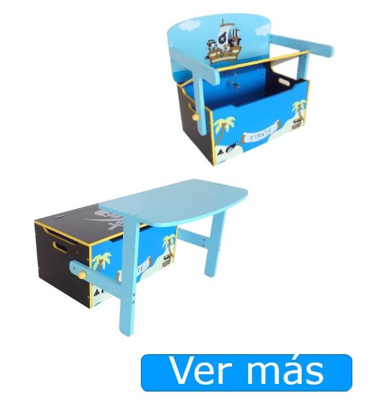 Baúl para juguetes con asiento y con mesa convertible