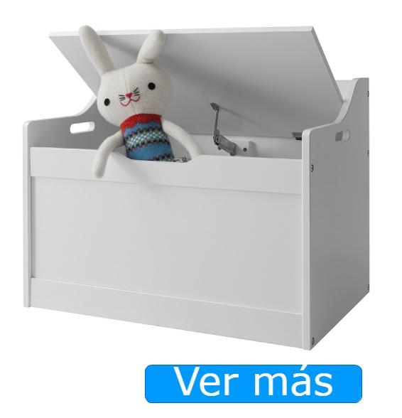 Baúl para juguetes blanco con bisagra de seguridad o cierre lento