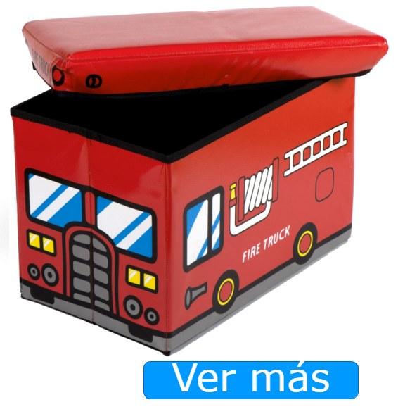 Baúl para juguetes infantil camión de bomberos